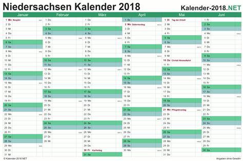 Jahreskalender 2018 Niedersachsen Kalender 2018 Niedersachsen