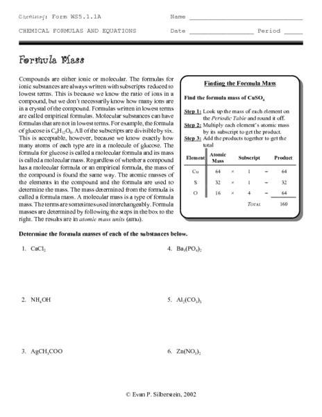 Gram Formula Mass Worksheet by Formula Mass Worksheet Free Worksheets Library