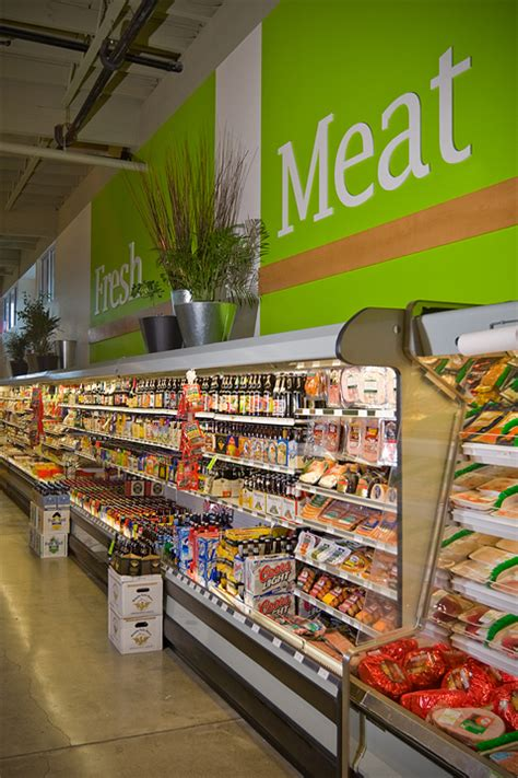 supermarket meat section greenfresh market grocery store design plan build by i