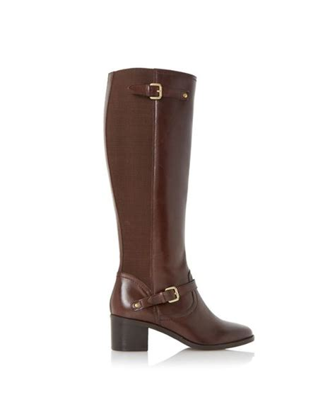 dune vivvi buckle knee high leather boots in brown save