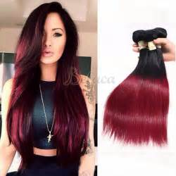 how to color weave 3 bundles two tone colors 1b burgundy hair dyed weave