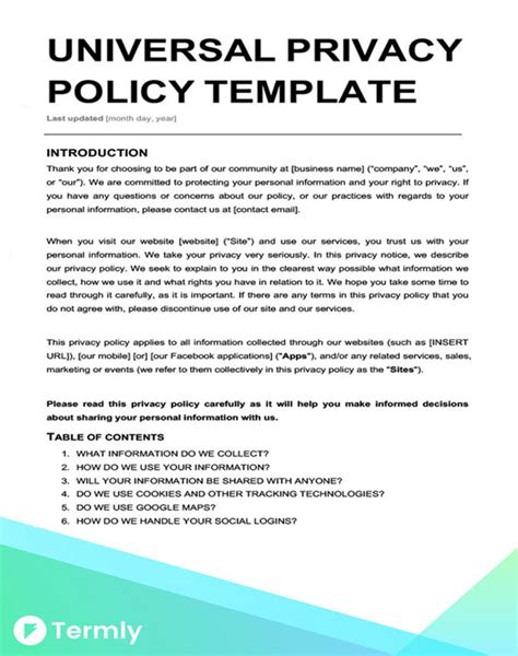 Free Privacy Policy Templates Website Mobile Fb App Termly Privacy And Security Policy Template