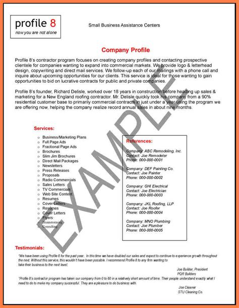 how to write a company profile pdf