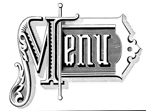 Wedding Menu Clip by Vintage Typography Menu Headings Wedding The