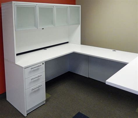 White U Shaped Desk Electric Lift U Shaped White Desk W Hutch