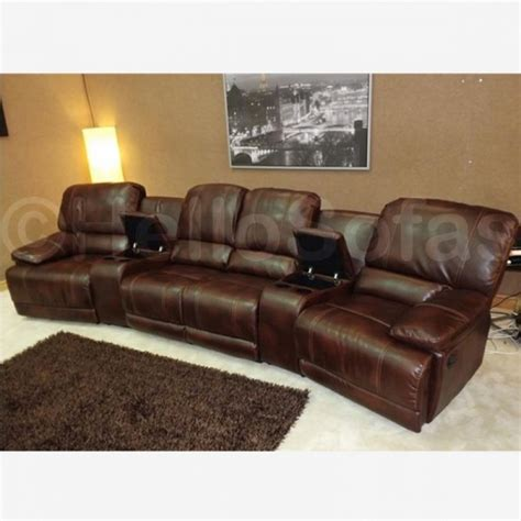 4 Person Reclining Sofa by Hellosofas Brando Brown Leather Recliner Sofa Sofas