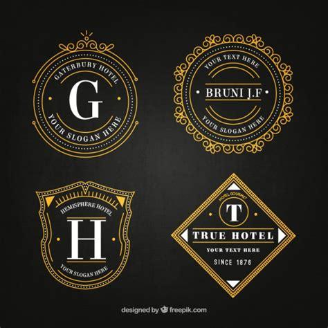 vintage logo design photoshop elegant hotel logos in vintage style pack vector free