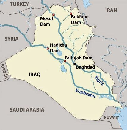 map of iraq rivers geography this is showing key dams along the tigris and