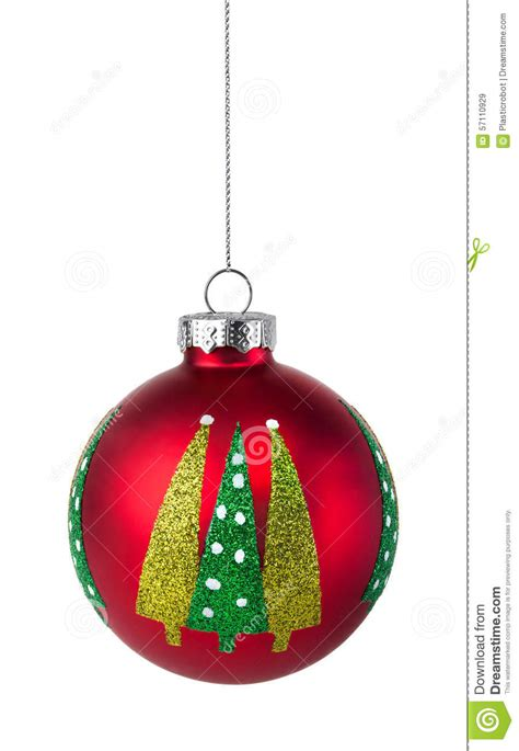 red christmas tree bauble hanging on a string stock photo