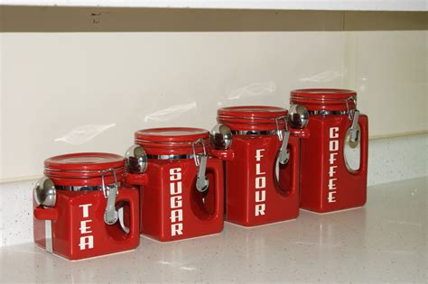 Kitchen Counter Canisters Ceramic Kitchen Canister Set Red Coffee Tea Sugar Flour Jars