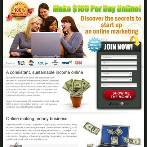 Online Money Making Business - money online landing page design templates to earn money