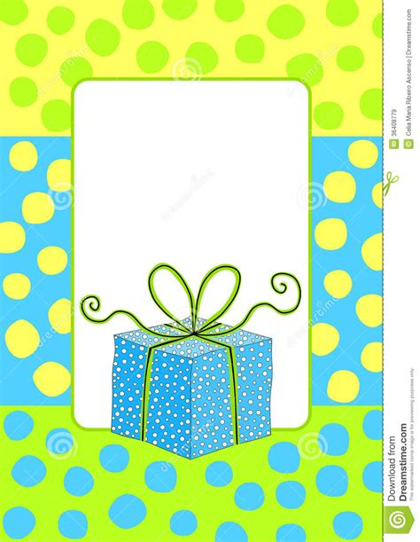 Gift Birthday Card - birthday card invitation with a gift box royalty free stock images image 36408779