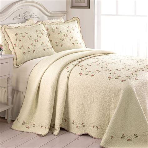 Quilted Comforters Felisa Embroidered Floral Quilted Bedspread