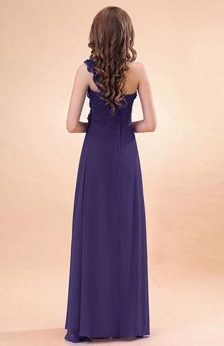 royal purple modern a line one shoulder zip up chiffon floor length bridesmaid dresses uwdress