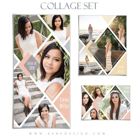 senior collage template set diamonds 3 photoshop by