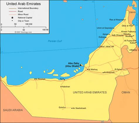 arab emirates map united arab emirates map and satellite image
