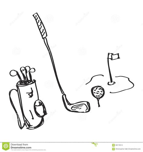 doodle club mr mumbles simple doodle of golf equipment stock vector image 58173214
