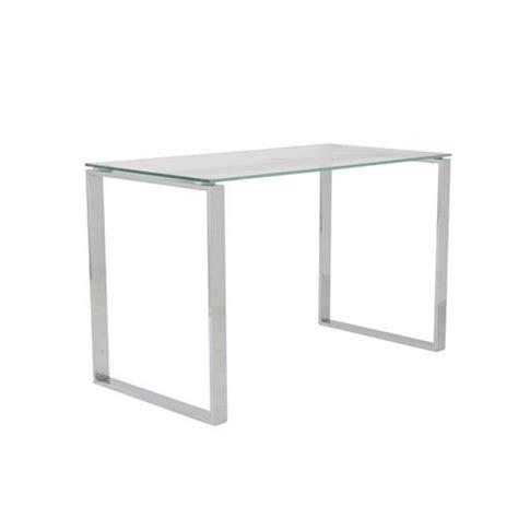 clear glass desk clear glass chrome 48 quot modern executive office desk officedesk