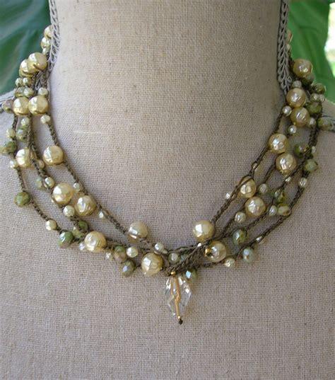 crochet beaded necklace pearl wrap bracelet bohemian crochet jewelry fashion