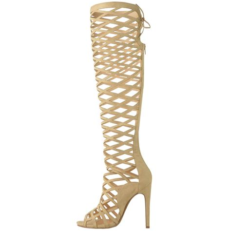 knee high heel sandals womens cut out lace knee high heel gladiator boots