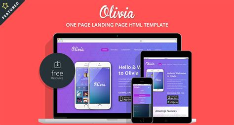 olivia one page landing page bootstrap template free