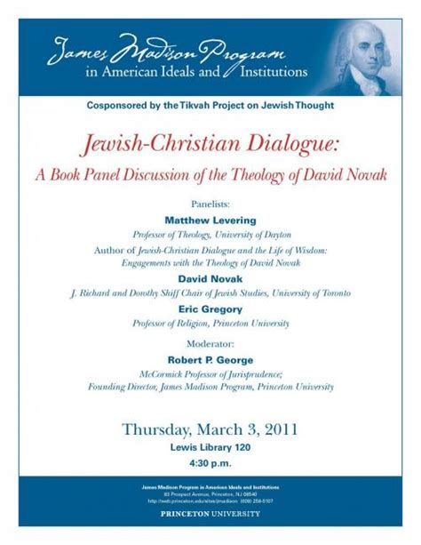 Jewish Christian Dialogue A Book Panel Discussion Of The