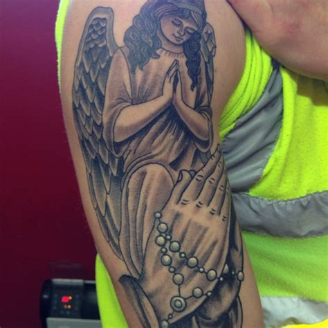 tattoo for half hand right half sleeve angel and praying hands tattoo on half