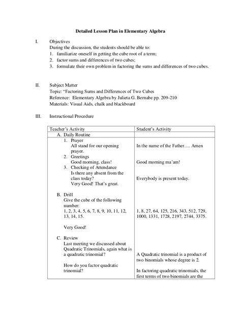 Detailed Lesson Plan In Elementary Algebra Detailed Template