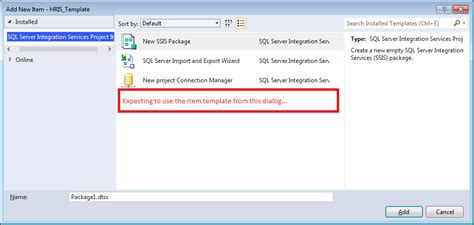 setting up ssis item template in sql server data tools for