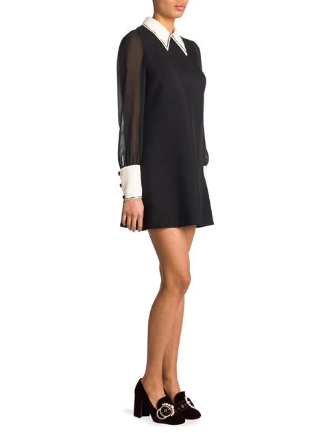 Embellished Sleeve Dress lyst miu miu sheer sleeve sequin embellished dress in black