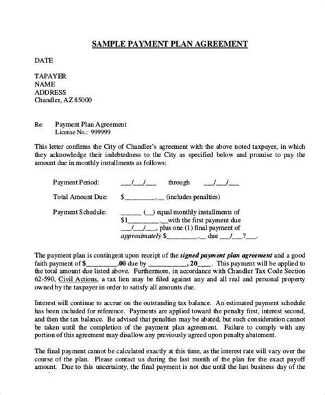 Letter Of Agreement Payment Agreement Letter Exles