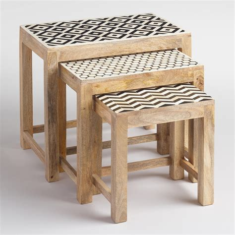 market nesting tables nesting tables with bone inlay set of 3 market