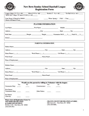 baseball registration form template printable baseball registration form fill