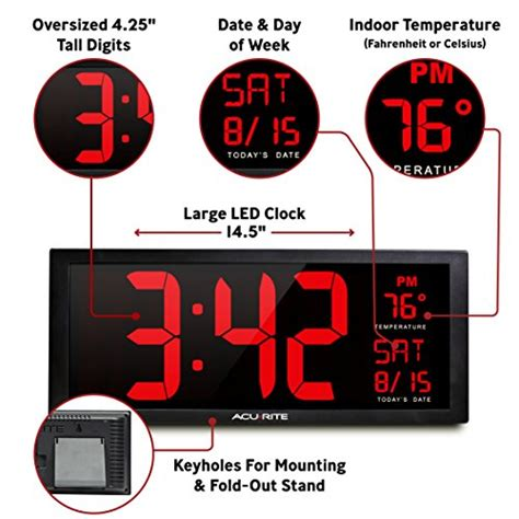 oversized led clock acurite 75127 oversized led clock with indoor temperature import it all
