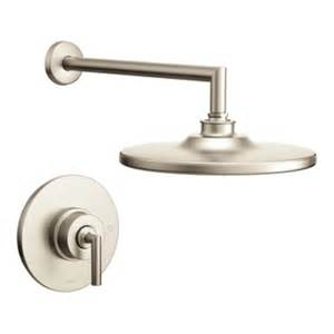 shop moen arris brushed nickel 1 handle shower faucet with