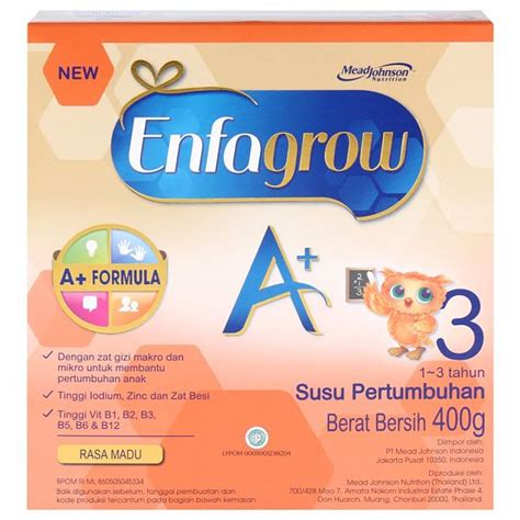 Enfagrow A 3 Vanila Madu 400 Gram jual enfagrow a 3 madu 400gr box harga