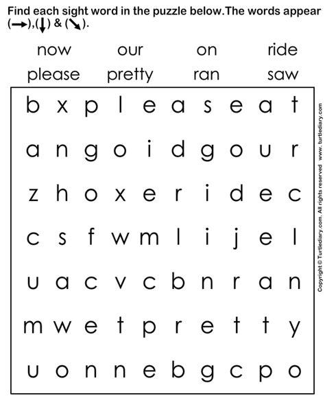 words worksheet sight word search worksheet turtle diary