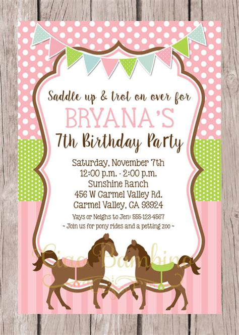 printable birthday invitations horses printable horse birthday party invitation pony invitation