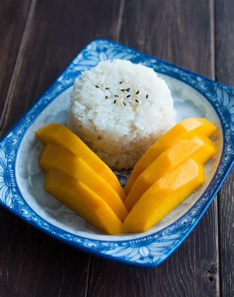 thai mango  sticky rice wok skillet