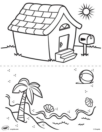 Beach House Coloring Pages | first pages house and beach coloring page crayola com