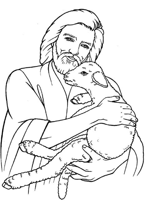 coloring page jesus with sheep free lamb of god coloring pages