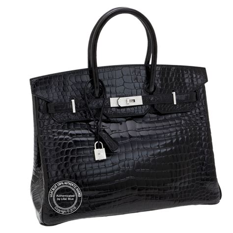 Hermes Birkin Croco Mini Syal 3 35cm black birkin shiny croc diamonds on white gold lilac blue