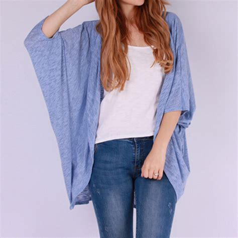 Sweater Stitch Casual casual batwing sleeve cardigan open stitch v neck