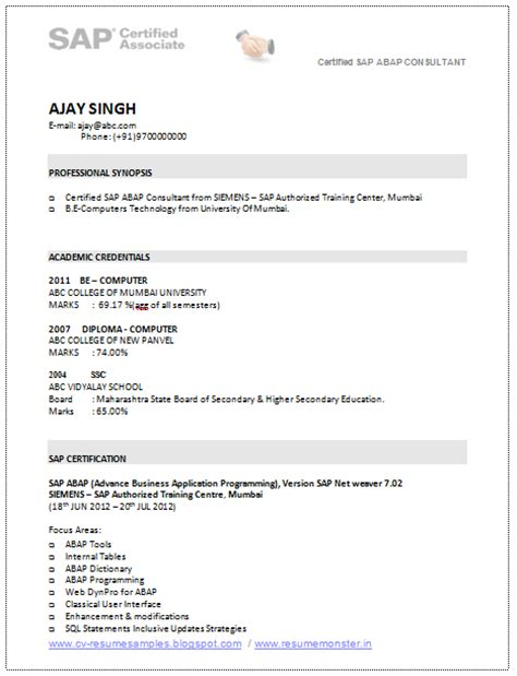 10000 cv and resume sles with free sap consultant resume sle
