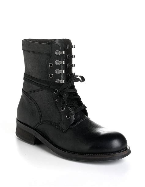 mens combat boots varvatos leather moto combat boots in black for