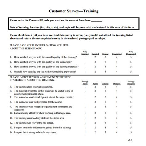 Survey Template - training survey 15 download free documents in pdf word