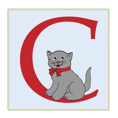 letter c cat illustration free stock photo