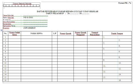 format daftar hadir sekolah contoh format daftar penyerahan ijazah kepada siswa lulus