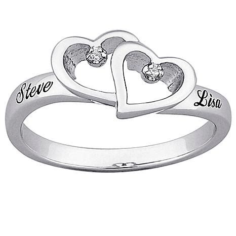 top engraved sterling silver hearts and name