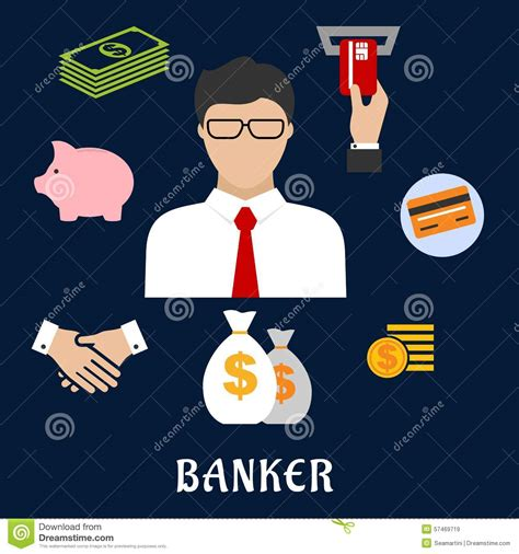 banker profession banker and financial flat icons stock vector image 57469719